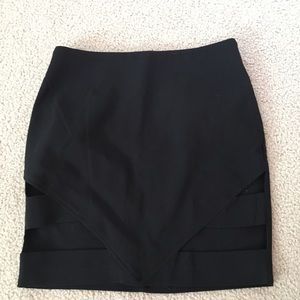 Black cut out bodycon skirt